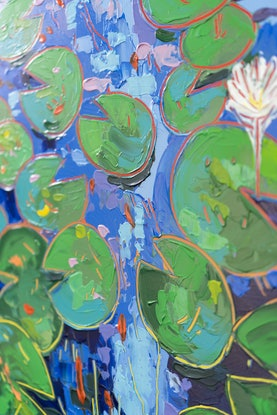 (CreativeWork) Tasman Lily Pond 41 by Joseph Villanueva. Acrylic Paint. Shop online at Bluethumb.