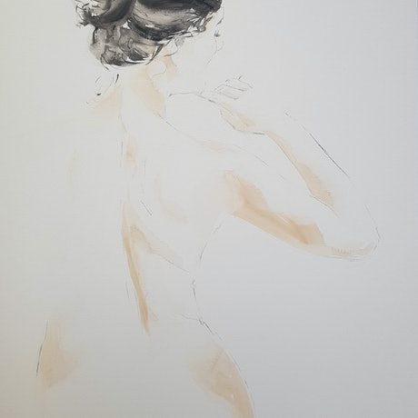 (CreativeWork) Belle II -  large 122cm nude by Laurie Franklin. Watercolour Paint. Shop online at Bluethumb.
