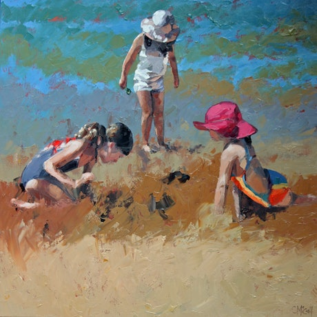 (CreativeWork) Sandcastles X by Claire McCall. Oil Paint. Shop online at Bluethumb.
