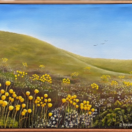 (CreativeWork) BILLY BUTTONS OF BOGONG by Corinne Young. Oil Paint. Shop online at Bluethumb.