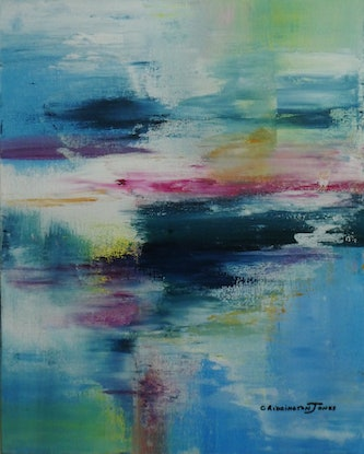 (CreativeWork) Pond Reflections by Clare Riddington Jones. Acrylic Paint. Shop online at Bluethumb.