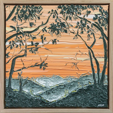 (CreativeWork) Sunset Silhouette 3 - Framed  by Joseph Villanueva. Acrylic Paint. Shop online at Bluethumb.