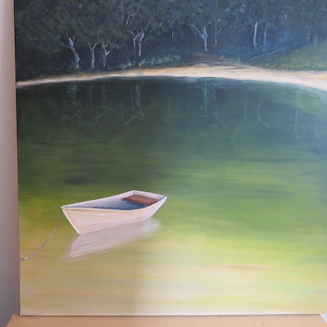 (CreativeWork) Tranquility Bay by Robyn Michael. Acrylic. Shop online at Bluethumb.
