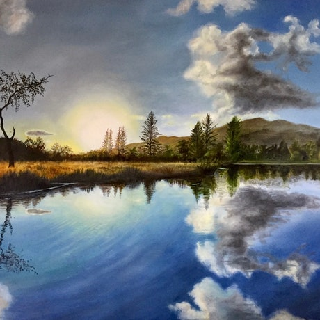 (CreativeWork) Still Waters by Cathy Yarwood - Mahy. Oil Paint. Shop online at Bluethumb.