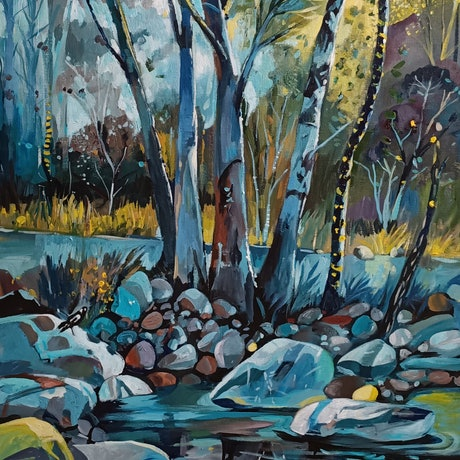 (CreativeWork) Yellow Light - Australian Landscape  by Susan Trudinger. Acrylic Paint. Shop online at Bluethumb.