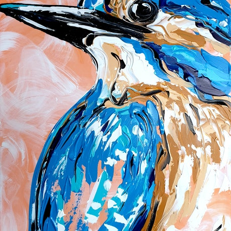 (CreativeWork) Apricot Kingfisher by Lisa Fahey. Acrylic Paint. Shop online at Bluethumb.