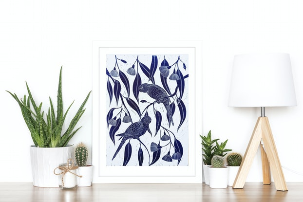(CreativeWork) Rosella's in the flowering gums Ed. 19 of 150 by Marinka Parnham. Print. Shop online at Bluethumb.