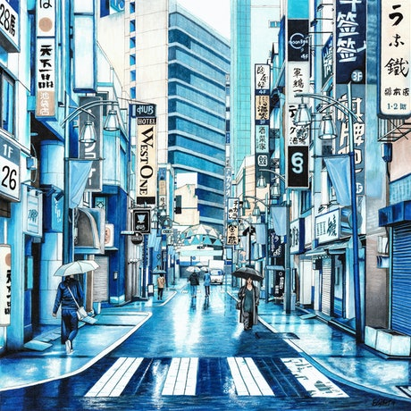 (CreativeWork) Rainy Day in Tokyo - Extra Large Stretched Canvas Print Ed. 20 of 50 by Erin Nicholls. Print. Shop online at Bluethumb.