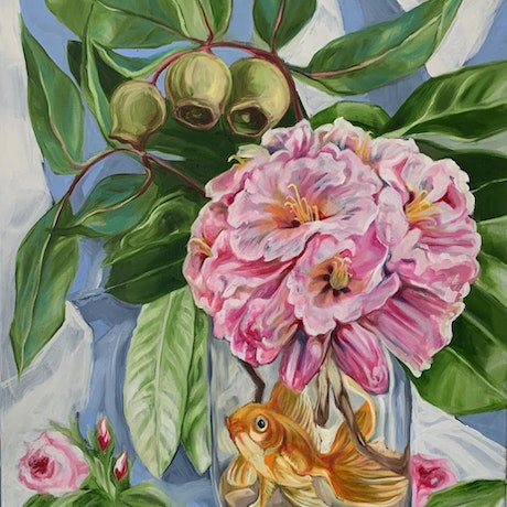 (CreativeWork) Roses, Rhodo and the Floaty Fish by Alicia Cornwell. Oil Paint. Shop online at Bluethumb.