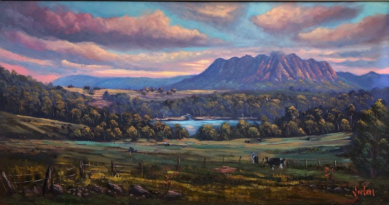(CreativeWork) View of Mt Roland, Tasmania by Christopher Vidal. Oil Paint. Shop online at Bluethumb.