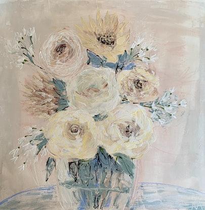 (CreativeWork) Vanessa Bell rose by Anita Parker. Acrylic. Shop online at Bluethumb.
