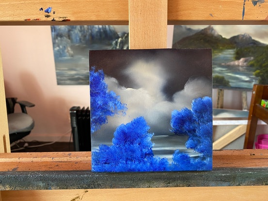 (CreativeWork) Blue Delight 5 by Elaine Green. Oil Paint. Shop online at Bluethumb.