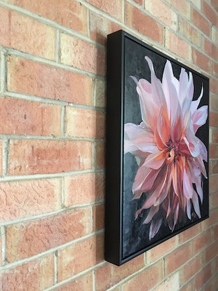 (CreativeWork) Dance with a Dahlia Two - Framed with a black box frame by Katrina Linn. Oil Paint. Shop online at Bluethumb.