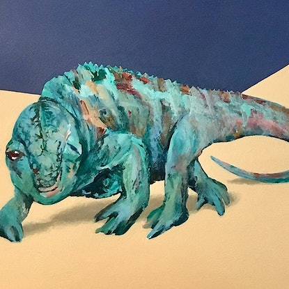 (CreativeWork) Chameleon Pool by Geoff Coleman. Acrylic Paint. Shop online at Bluethumb.