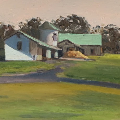 (CreativeWork) The Barns by Rosy Lloyd. Oil Paint. Shop online at Bluethumb.