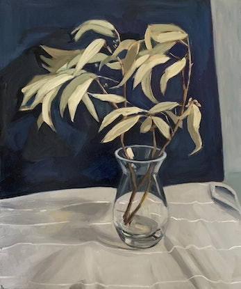 (CreativeWork) Gumleaves and Glass by Rosy Lloyd. Oil Paint. Shop online at Bluethumb.