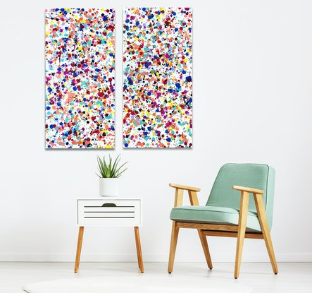 (CreativeWork) Twin Vision - Diptych by Estelle Asmodelle. Acrylic Paint. Shop online at Bluethumb.