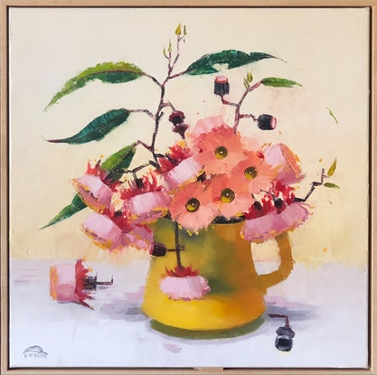 (CreativeWork) Fairy blossom in yellow jug (64x64cm including frame) by kirsty mcintyre. Oil Paint. Shop online at Bluethumb.