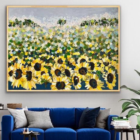 (CreativeWork) Sunflower 122x92 framed large textured abstract landscape by Sophie Lawrence. Acrylic Paint. Shop online at Bluethumb.