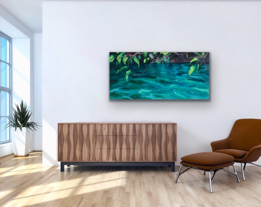 (CreativeWork) In Flow Jubara ~ Fern Pool by Jo Meredith. Oil Paint. Shop online at Bluethumb.