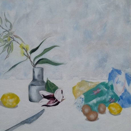 (CreativeWork) Making lemon butter by Christie Curatolo. Oil. Shop online at Bluethumb.