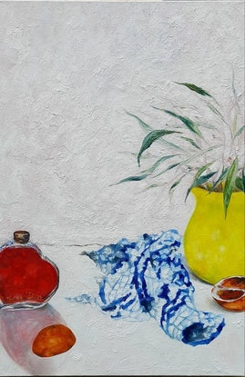 (CreativeWork) Yellow jug by Christie Curatolo. Oil. Shop online at Bluethumb.