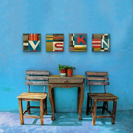 (CreativeWork) VsKN - set of 4 by Letter allsorts. Acrylic Paint. Shop online at Bluethumb.