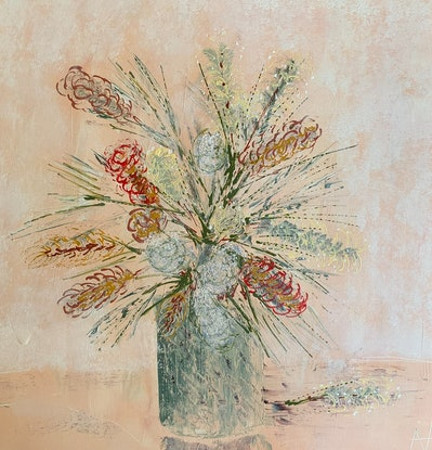 (CreativeWork) Groovy Grevillea  by Anita Parker. Acrylic. Shop online at Bluethumb.