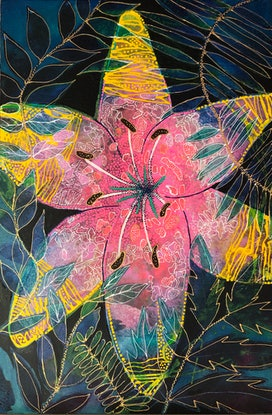 (CreativeWork) FLOWER - Tiger Lily, Eyes burning Bright by Astrid Dahl. Acrylic Paint. Shop online at Bluethumb.
