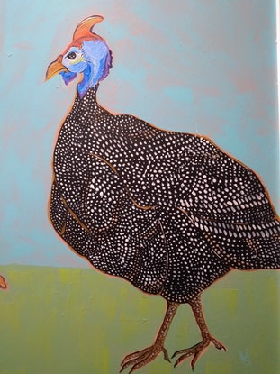 (CreativeWork) A pair of African Guinea Fowls by Wendy Glamocak. Acrylic Paint. Shop online at Bluethumb.