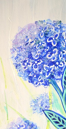 (CreativeWork) Hope Blooms - Hydrangea Flowers by Linda Callaghan. Acrylic Paint. Shop online at Bluethumb.