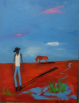 (CreativeWork) Solitude Of A Boundary Rider by Little Heath. Oil. Shop online at Bluethumb.