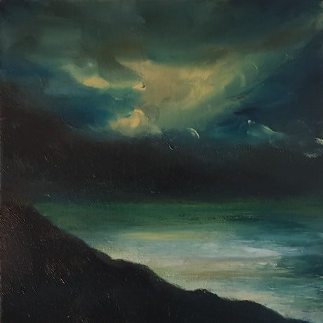 (CreativeWork) Where the Ocean meets the Sea by Georgina Richmond. Oil Paint. Shop online at Bluethumb.