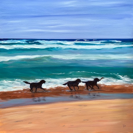 (CreativeWork) Play time by Shelly Du. Acrylic Paint. Shop online at Bluethumb.