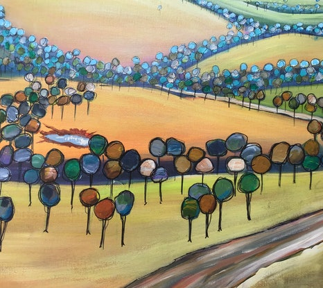 (CreativeWork) Good country by Ron Brown. Acrylic Paint. Shop online at Bluethumb.