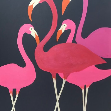 (CreativeWork) Flamingos by Ron Brown. Acrylic Paint. Shop online at Bluethumb.