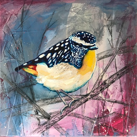 (CreativeWork) Pardon my Pardalote by Kylee Rees. Mixed Media. Shop online at Bluethumb.
