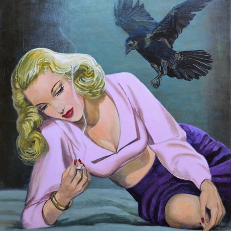 pensive woman with crow