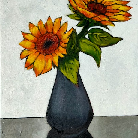(CreativeWork) Sunflowers by Rebecca Read. Oil Paint. Shop online at Bluethumb.
