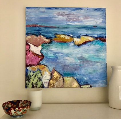 (CreativeWork) Rockpool by Susannah Bond. Oil Paint. Shop online at Bluethumb.