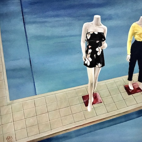 (CreativeWork) Mannequin Pool by Geoff Coleman. Acrylic Paint. Shop online at Bluethumb.
