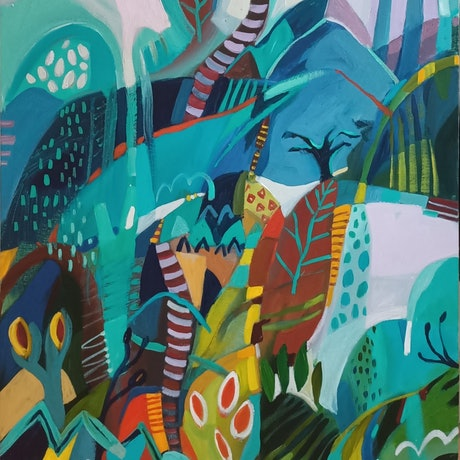 (CreativeWork) Abstract Landscape  - Tropicana # 1 by Susan Trudinger. Acrylic Paint. Shop online at Bluethumb.