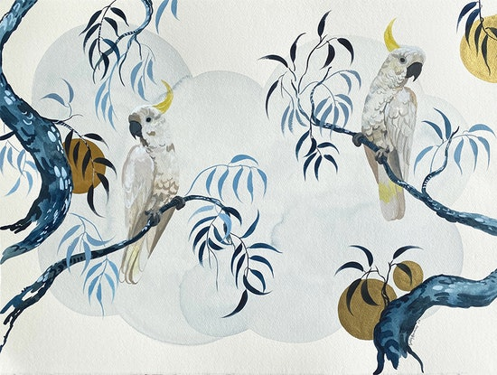 (CreativeWork) Sulphur Crested Cockatoos Japonica by Sally Browne. Watercolour Paint. Shop online at Bluethumb.