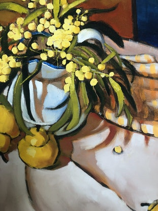 (CreativeWork) (Print) Wattle, Pears and Orange stripe Ed. 6 of 20 by kirsty mcintyre. Print. Shop online at Bluethumb.