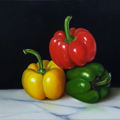 (CreativeWork) Three Capsicums by Natasha Junmanee. Oil Paint. Shop online at Bluethumb.