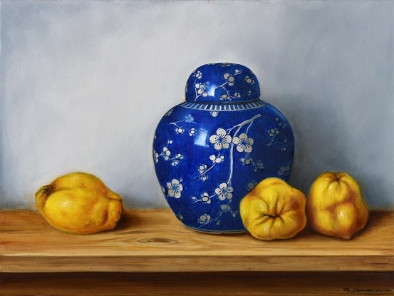 (CreativeWork) Quinces and cherry blossom jar by Natasha Junmanee. Oil Paint. Shop online at Bluethumb.