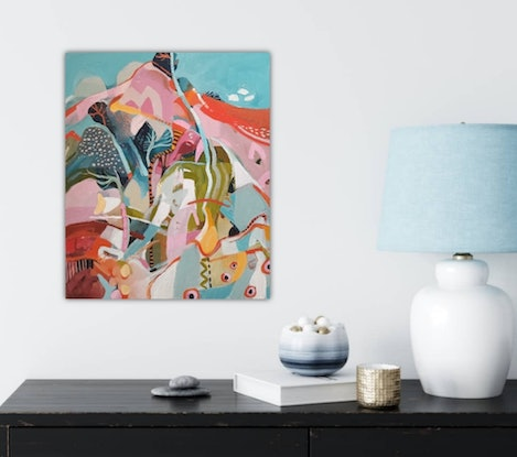 (CreativeWork) Abstract Landscape  - Tropicana # 3 by Susan Trudinger. Acrylic Paint. Shop online at Bluethumb.
