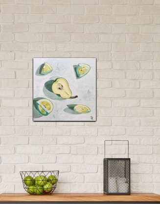 (CreativeWork) Pear With Lemon  by Dominika Keller. Acrylic Paint. Shop online at Bluethumb.