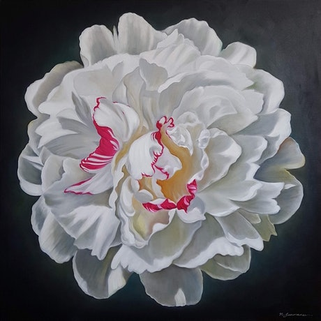 (CreativeWork) Portrait of white peony by Natasha Junmanee. Oil Paint. Shop online at Bluethumb.