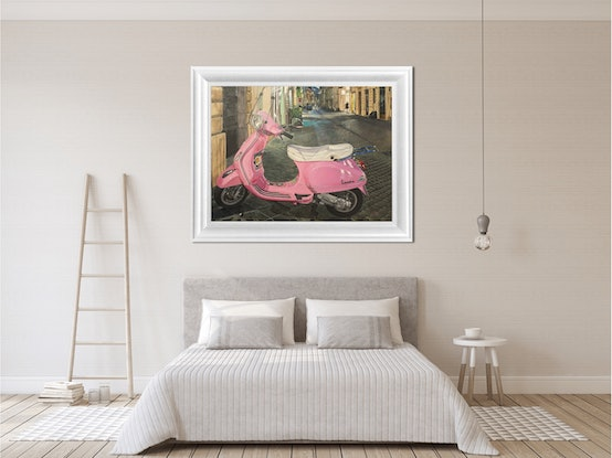 This painting depicts the iconic pink Vespa scooter, languishing on a street one evening in Rome, Italy.